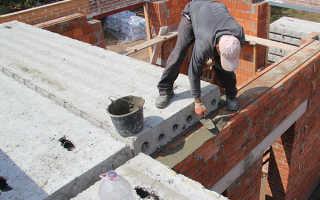 Узел опирания плиты перекрытия на кирпичную стену