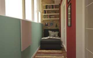 Полки под подоконником на балконе